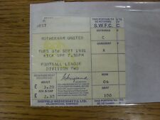 08/09/1981 Ticket: Sheffield Wednesday v Rotherham United  (corner torn off). An
