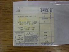 08/09/1981 Ticket: Sheffield Wednesday v Rotherham United  (corner torn off). An