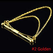 Men's Silver Gold Necktie Tie Clip Bar Clasp Cravat Pin Skinny Collar Brooch New