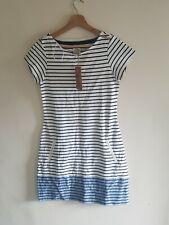 MANTARAY Summer Casual Blue White Striped Tunic Dress Size 8 NWT