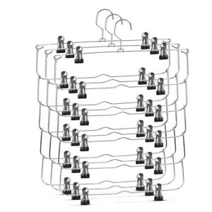 6-Tier Skirt Pants Shorts Hangers with Adjustable Clips Space Saving No Slip