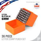 1/4' Letter & Number Stamp Punch Set 36pc Hardened Steel Metal Wood Leather 6mm