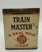 Vintage Tin 1926 Train Master rectangular 50 cigar tin 5 Cents Southern Tobacco