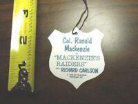 """1950's Col. Ranald Mackenzie """"Mackenzies Raiders  Western Rider Custom Hang Tag"""