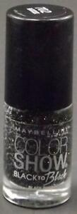 Maybelline Color Show Nail Lacquer #702 Black Dust  (Glitter)   Free S&H