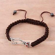 "Silver Plated Cat Shamballa Bracelet Crystal Red Brown Chic Kitty 6-10"" inch"