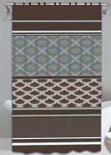 Olivia Brown & Blue 13-Pc Bath Shower Curtain & Rings Bathroom Accessory Set