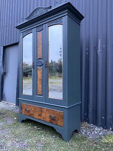 Antique Edwardian🌟 Oak & Walnut Armoire Wardrobe Cupboard