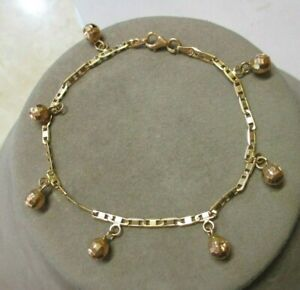 """22K Solid Yellow Gold Dangling Ball Anchor Marine Chain Bracelet 8"""""""