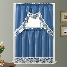 DISPLAY-DREAMLAND kitchen curtain set. Embroidery  with cutworks. RIVERSIDE BLUE
