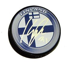 KARRI RAMO Signed FINLAND FLAG HOCKEY PUCK AUTOGRAPH! 1004692