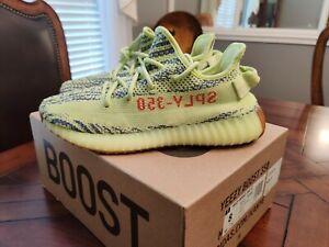 ADIDAS YEEZY BOOST 350 V2 SEMI FROZEN YELLOW B37572 MENS SIZE 8 **AUTHENTIC**
