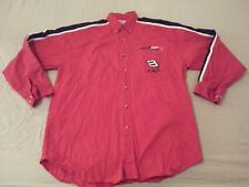 Mens Winners Circle Dale Earnhardt Jr Dress Shirt L Large Red Cotton Long Button