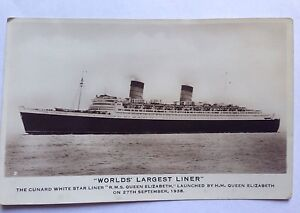 C1938 REAL PHOTO EXCEL SERIES  CUNARD WHITE STAR LINER RMS QUEEN ELIZABETH