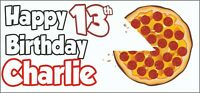 2 PERSONALISED Pizza 13th Birthday Banners Party Decorations Teenager Boys Girls