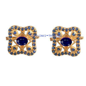Natural Blue sapphire Gemstones with 925 Sterling Silver Gold plated Cufflinks