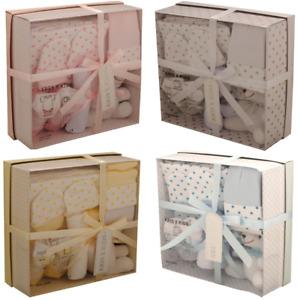 Baby Boy Girl 7 Piece Gift Set Teddy Socks Hat Wash Cloth Mittens Shower