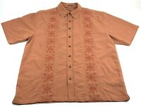 Toes On The Nose Mens 2XL Shirt Orange Embroidered Dream Fit Hawaiian Camp XXL