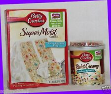 Betty Crocker Super Moist PARTY RAINBOW CHIP Cake Mix & Rich Creamy Frosting Set