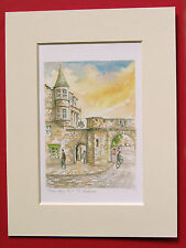 ST ANDREWS THE WEST PORT FIFE CHARMING MOUNTED WATER COLOUR PRINT 8 X 6 OVERALL