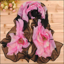 Wholesale Chromatic Big Pink flowers and Black Scarf Thin Georgette Wraps