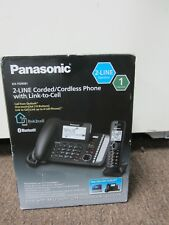 NEW Panasonic 2-Line Corded/Cordless Phone System w/ Link2Cell KX-TG9581 Black