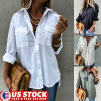 Womens Long Sleeve V-neck Loose Tops T Shirt OL Stripe Casual Button Down Blouse
