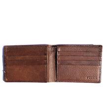 Fossil Men's Bifold Goat Hide Pebble Leather Brown Wallet