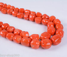 """NEW 11-14mm Orange Red Coral Rondelle Gems Beads Necklace 36"""" Long"""