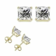New Silver Yellow Gold Plated 4 Carat 8MM Clear Princess Cut CZ Stud Earrings