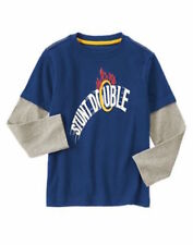 Gymboree Junior Stunt Double Boys 7 Navy Ring Double Sleeve Tee Shirt Top NWT