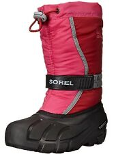 Sorel Girls Winter Snow Boot Size Youth 7 Big Kid Pink Red Flurry Felt Liner New