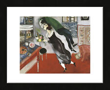 FRAMED ART - Birthday by Marc Chagall Print Contemporary Black Frame 13x16