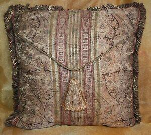 Croscill Paisley Gold Burgundy Brown Throw Pillow Damask Stripe Tangier Tassel