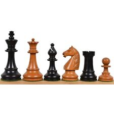 """French Grandmaster's Staunton Chess Pieces Only set- Antiqued Boxwood- 4.1"""" King"""