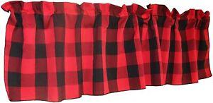 Polyester Buffalo 2 Inch Checkered Plaid Design Kitchen Curtain Valance Window T