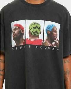 Chicago Bulls Basketball Dennis Rodman T Shirt Funny Black Cotton Tee Gift Men