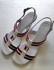 """Bally White Women's Sandals With 2"""" Heels Size 7 New in Box"""
