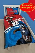 MARVEL CAPTAIN AMERICA IRON MAN SINGLE DUVET QUILT COVER SET BOY KIDS BLUE RED