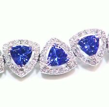 12.85CT 14K Gold Natural Tanzanite White Diamond D Block Halo Tennis Bracelet