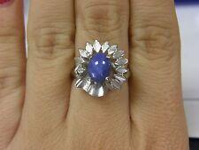 Estate Natural Star Blue Sapphire & Diamond Solid 14K White Gold Flower Ring