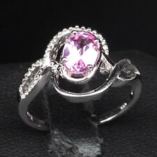 PLATINUM PINK SAPPHIRE RING OVAL 0.80 CT. 925 STERLING SILVER WOMAN SIZE 6.75