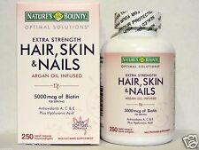 Nature's Bounty HAIR SKIN and NAILS 250 Softgels Multivitamin 5000 mcg Biotin