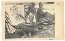 Indonesia - Javanese Women at Batik Work Postcard Used in 1926
