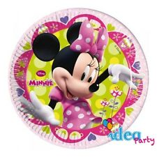 PIATTI MINNIE 23 cm addobbi tavola Disney Topolina festa compleanno bambina 8 pz