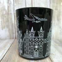 Vintage Alitalia Black Glass Cup Salvo Saivo Firenze Airline Flying Pilot Jets