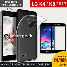 Funda TPU Gel 100% TRANSPARENTE para LG K4 2017 K8 2017  + CRISTAL TEMPLADO case