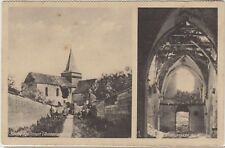 AGUILCOURT Aisne FRANCE German Soldiers BATTLE DAMAGE to Church GERMAN PC c1916