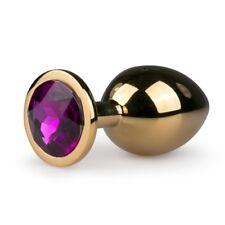 Analplug Buttplug Analdildo aus Aluminium Analtoy Gold pink Kristall midsize