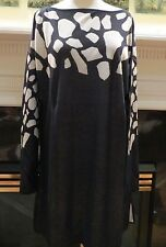 NEW ST. JOHN COLLECTION MARIE GRAY COTTON/RAYON BLACK TUNIC SWEATER TOP XL